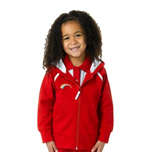 Girl in red Rainbows hoodie with rainbow embroidered logo