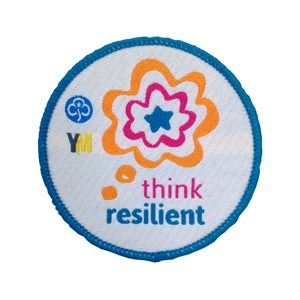 Think resilient woven badge