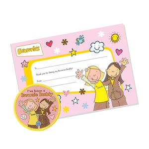 Brownies buddy woven badge and certificate