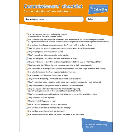 Girlguiding Commissioners checklist material