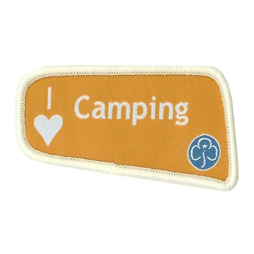 I heart love camping orange woven badge