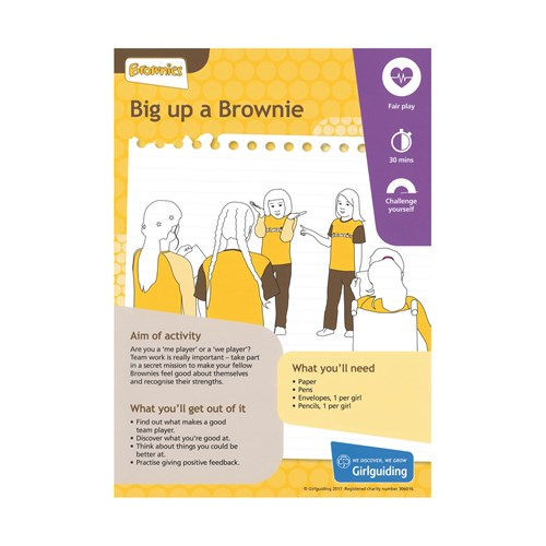 Brownies Unit Meeting Activity Be Well Big up a brownie