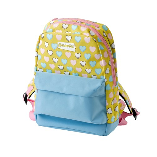 Brownies heart pattern backpack with zip and small front compartment
