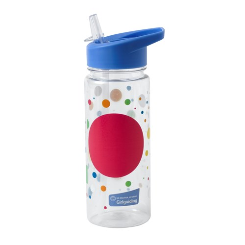 Girlguiding water bottle with spotted pattern