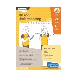 Brownies unit meeting activity take action mission: understanding