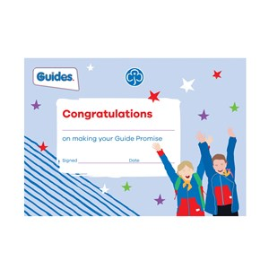 Guides promise badge certificate