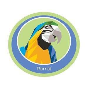 Parrot emblem woven badge