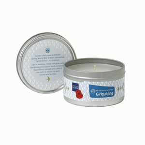 Candle in tin with RBL logo