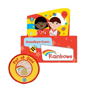 Rainbows pot of gold badge and certificate (5 pk)