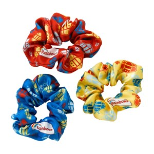 Rainbows scrunchies with bee pattern