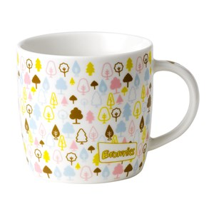 Brownies white mug with colourful trees