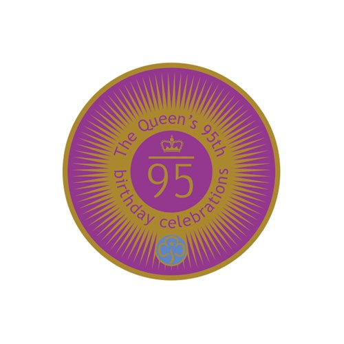 The Queen's 95th birthday celebrations metal badge