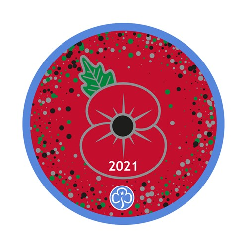 Remembrance poppy woven badge 2021