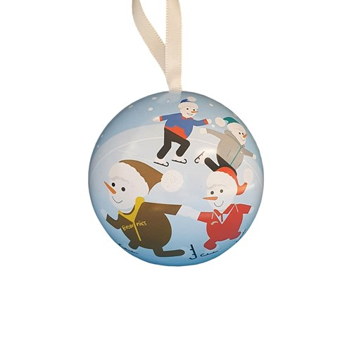 christmas bauble with snow people