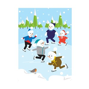 Festive greeting card with snow people